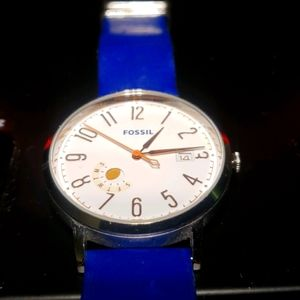 Vintage Fossil  Muse Blue Leather Watch